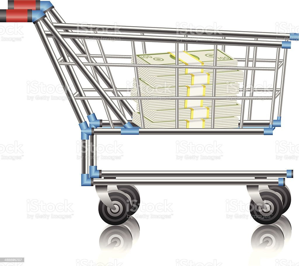 Money in Shopping Cart royalty-free stock vector art