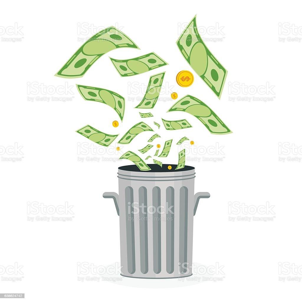 money in trash vector art illustration