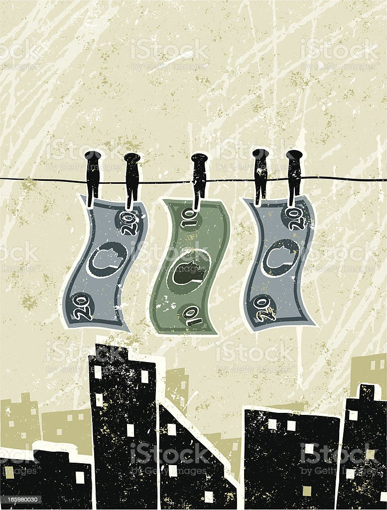 Money Laundering, Bank Notes Pegged on to a Washing Line royalty-free stock vector art