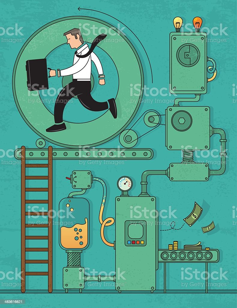Money making machine vector art illustration