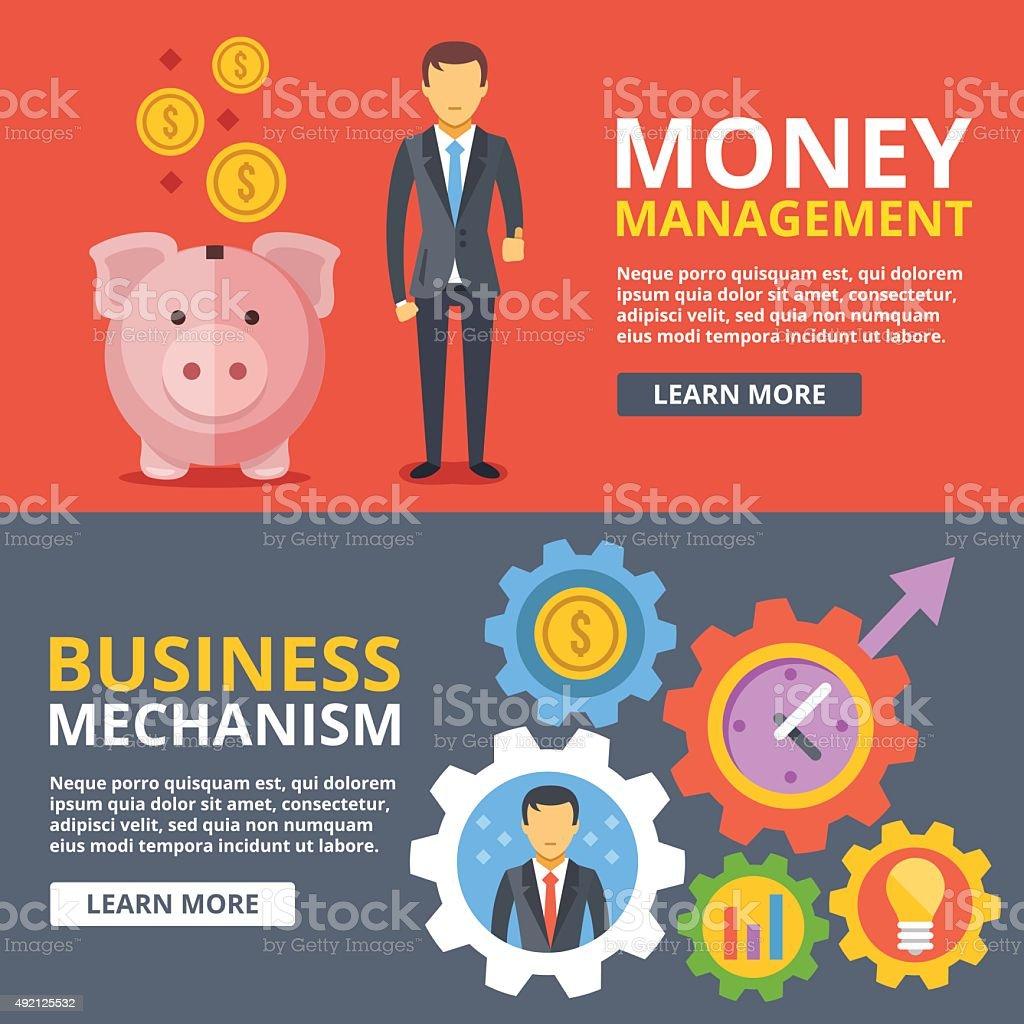 Money management, business mechanism flat illustration abstract concepts set vector art illustration