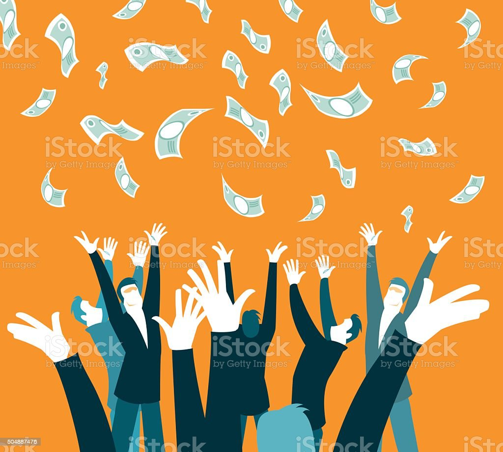 money money falling from the sky. An unexpected pleasure. vector art illustration