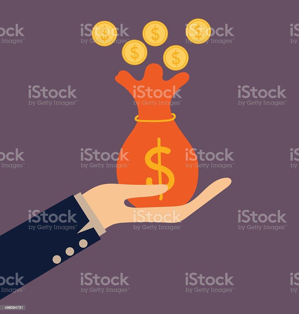Money on hand. Modern Flat design vector illustration concept. vector art illustration