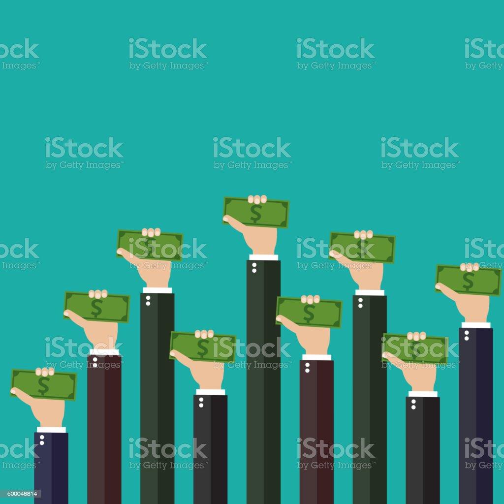 Money on hands. vector art illustration