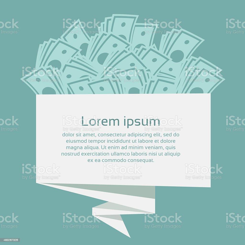 Money on origami banner. Business concept. Vector Illustration. vector art illustration