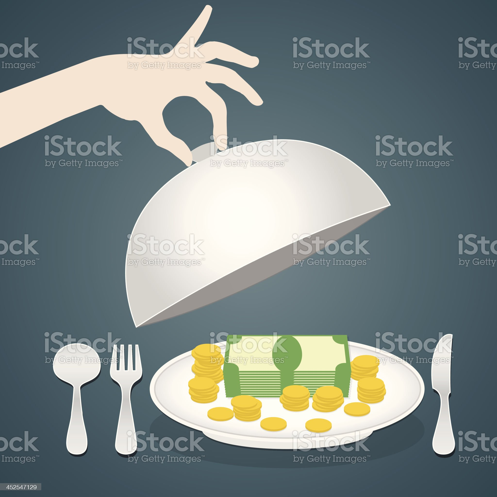 money on the plate, serving  business concept royalty-free stock vector art