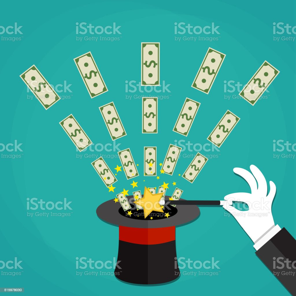 Money out the hat magic trick concept. vector art illustration