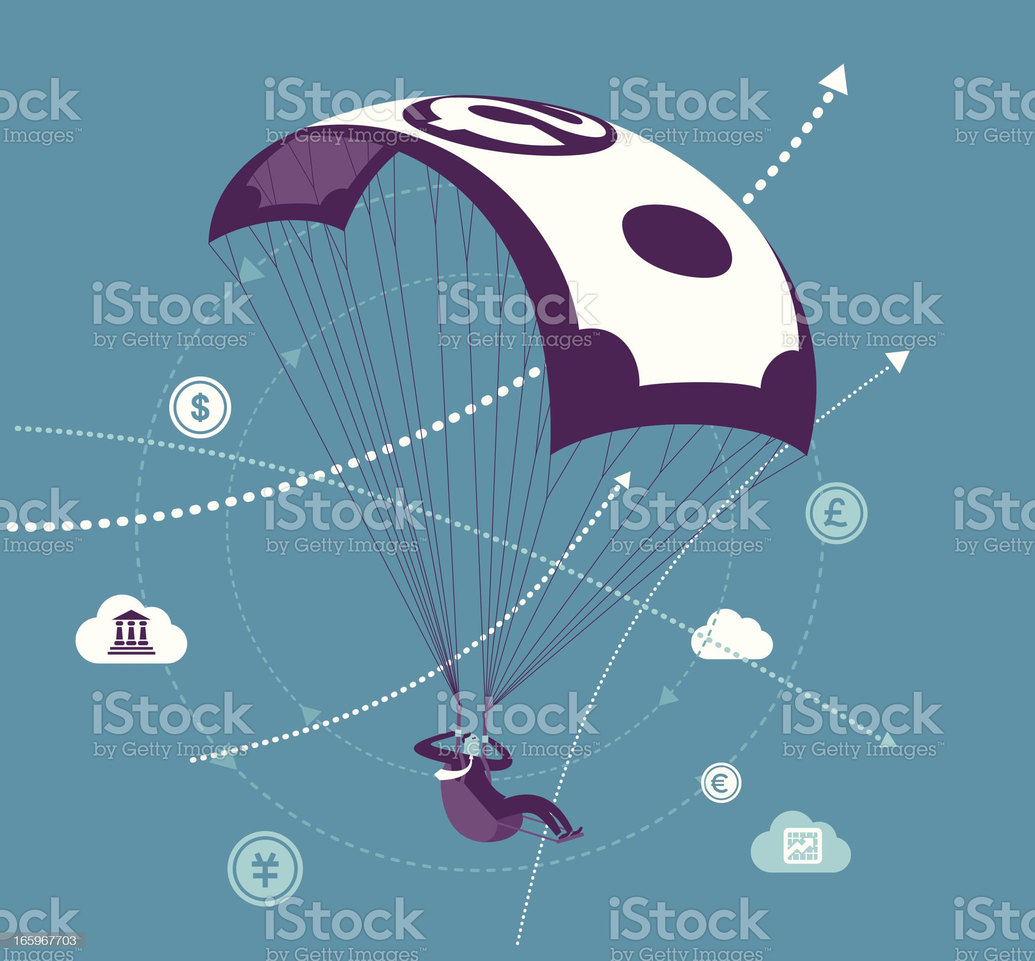 Money Parachute royalty-free stock vector art