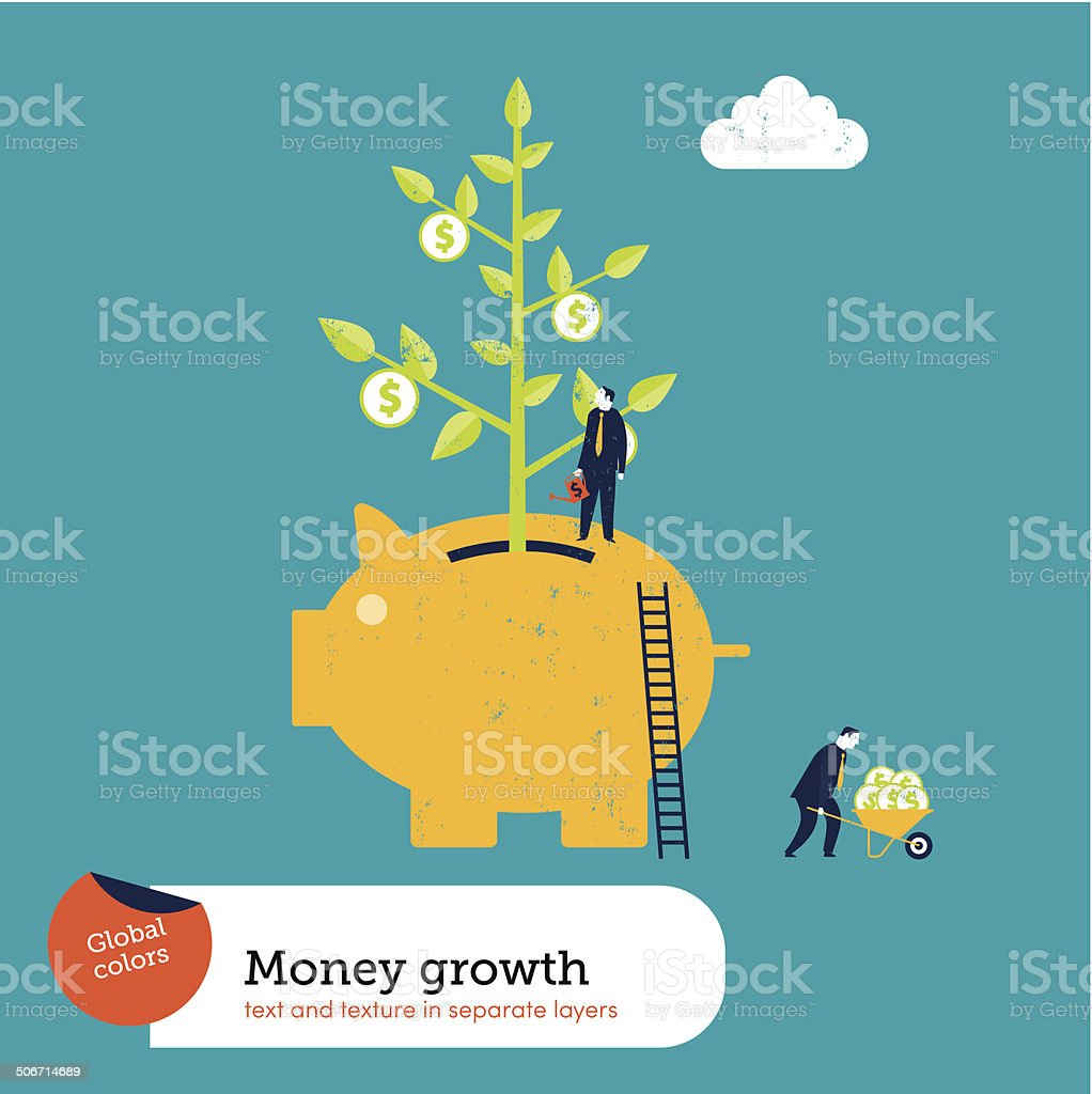 Money Plant in a Piggy Bank vector art illustration