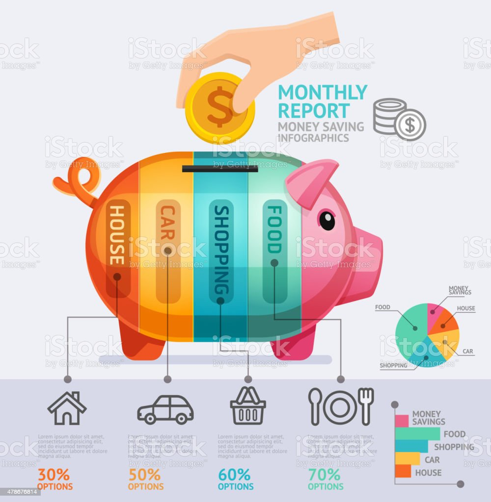 Money Saving Monthly Report Infographics Template. vector art illustration