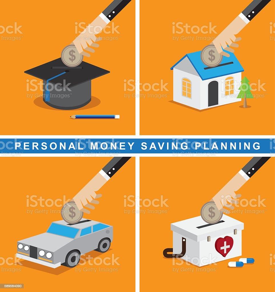 Money saving planning vector art illustration