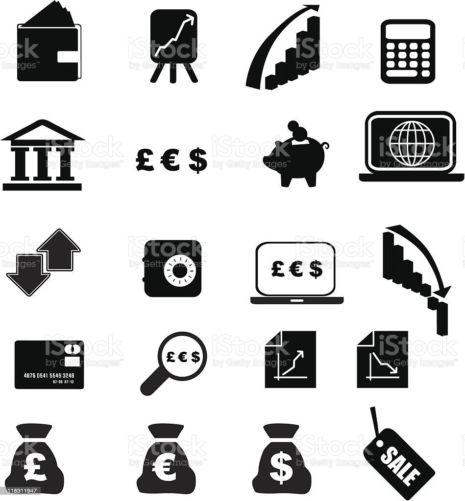 Geld silhouette set Lizenzfreies vektor illustration
