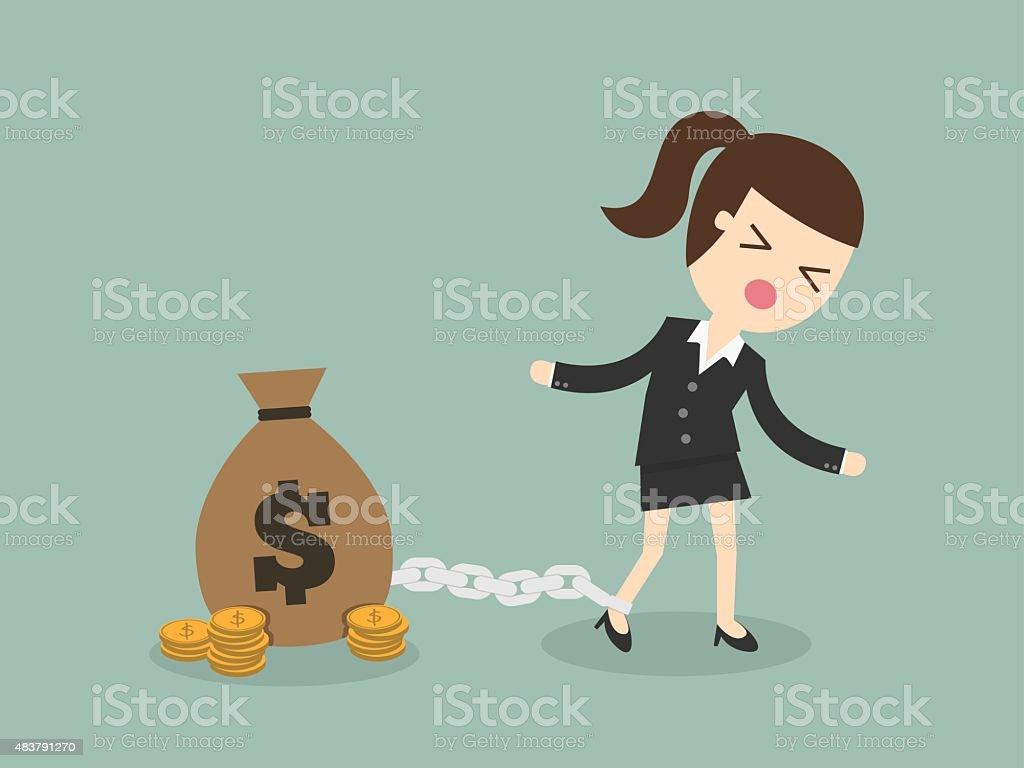 Money slave vector art illustration