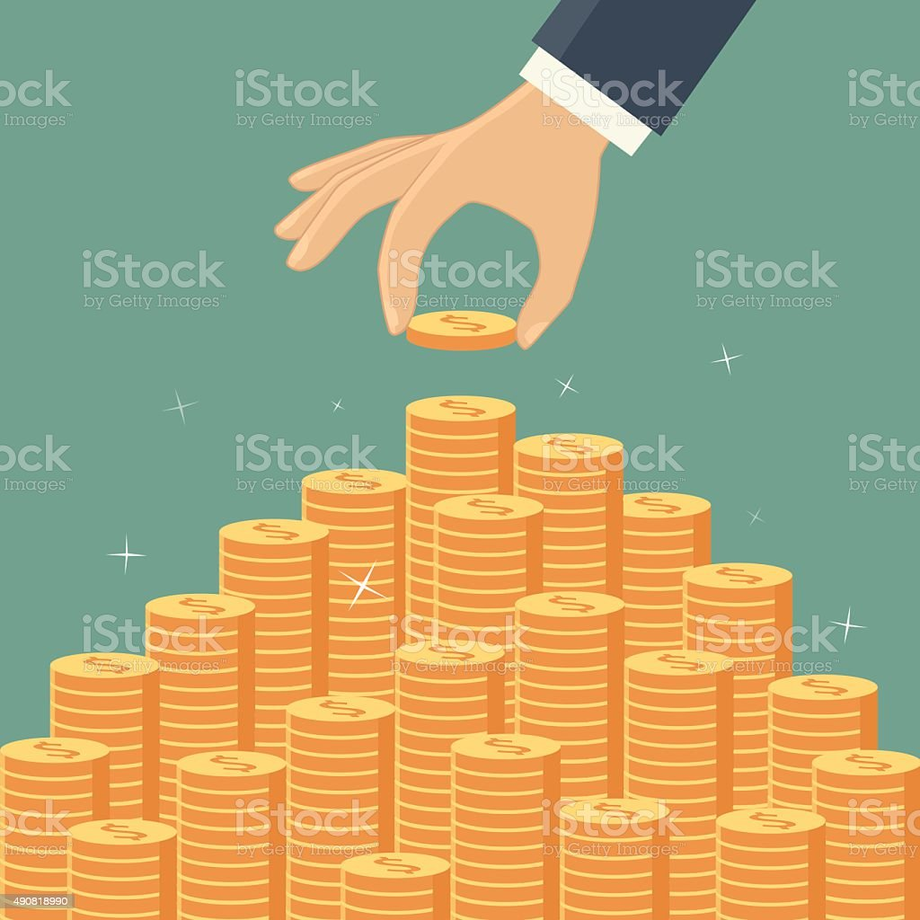Money staircase vector art illustration