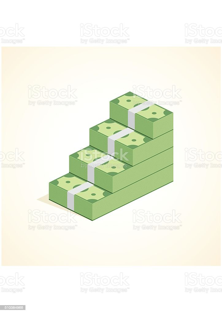 Money steps, Ascent to wealth, Pile of Cash ladder. Success vector art illustration