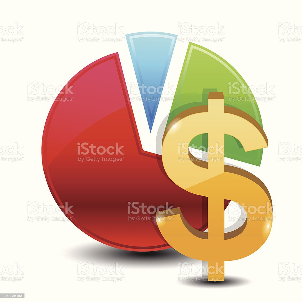 Money symbol in front of a pie chart vector art illustration