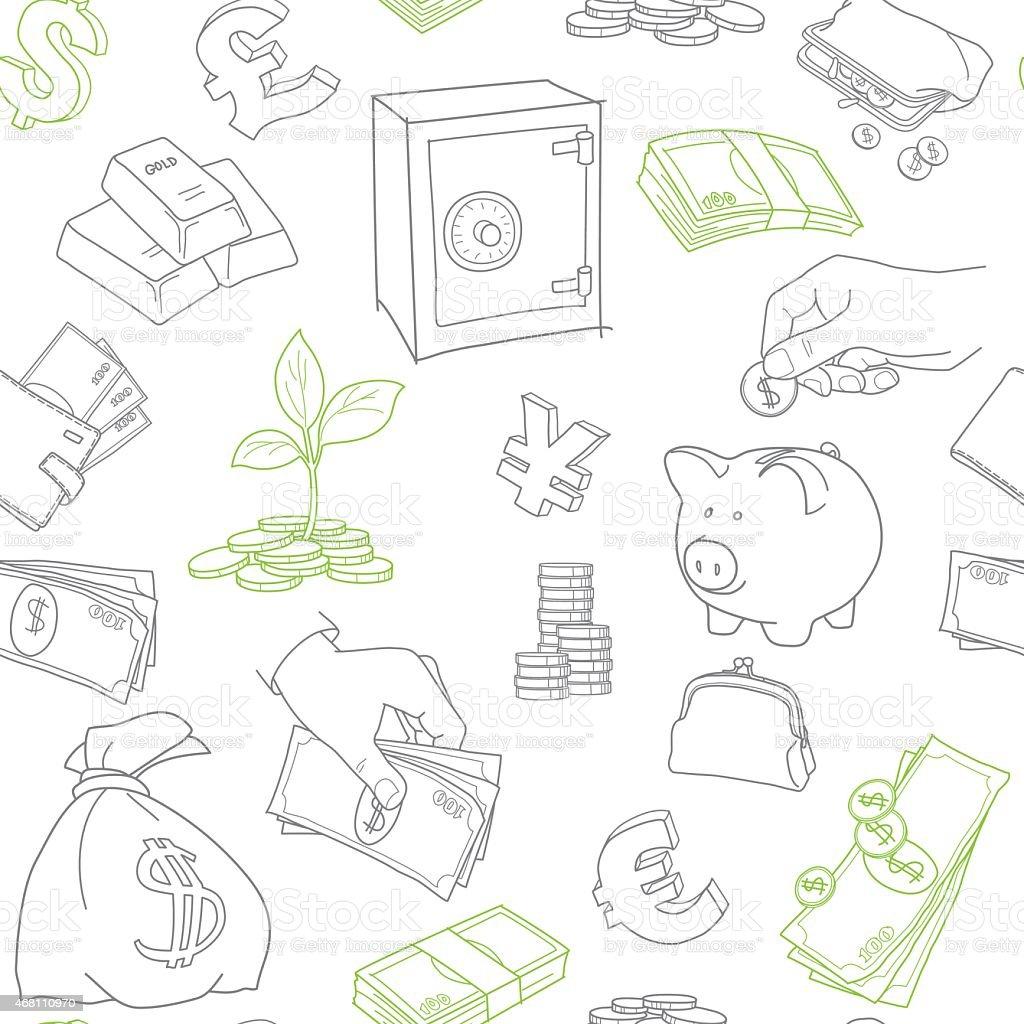 Símbolos de dinheiro doodle desenho em vetor padrão sem emendas vetor e ilustração royalty-free royalty-free