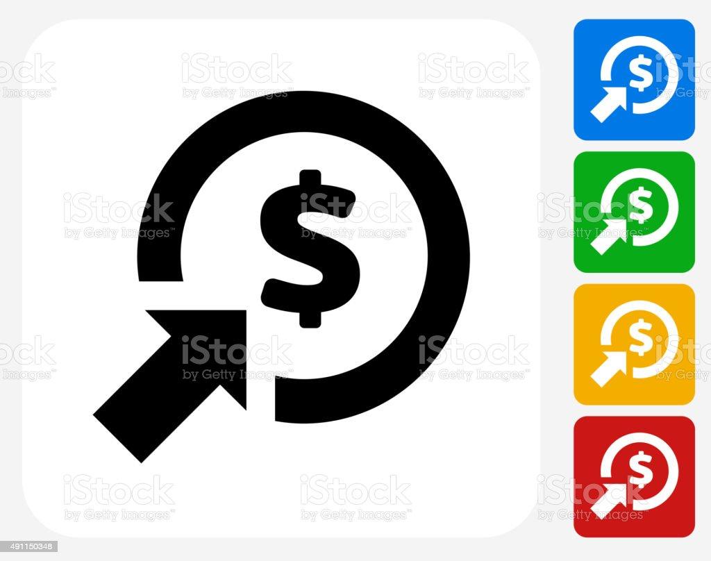 Money Target Icon Flat Graphic Design vector art illustration