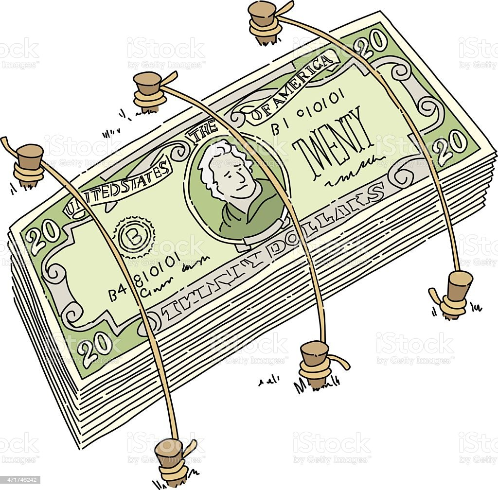 Money Tied Down vector art illustration
