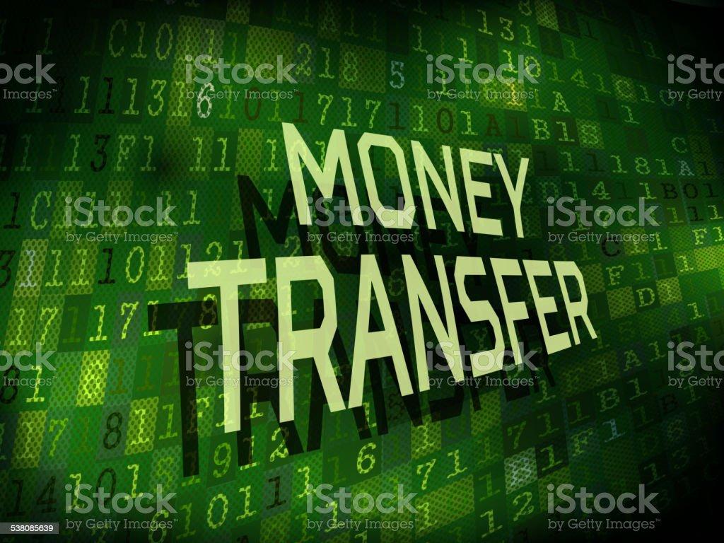 money transfer words isolated on digital background vector art illustration