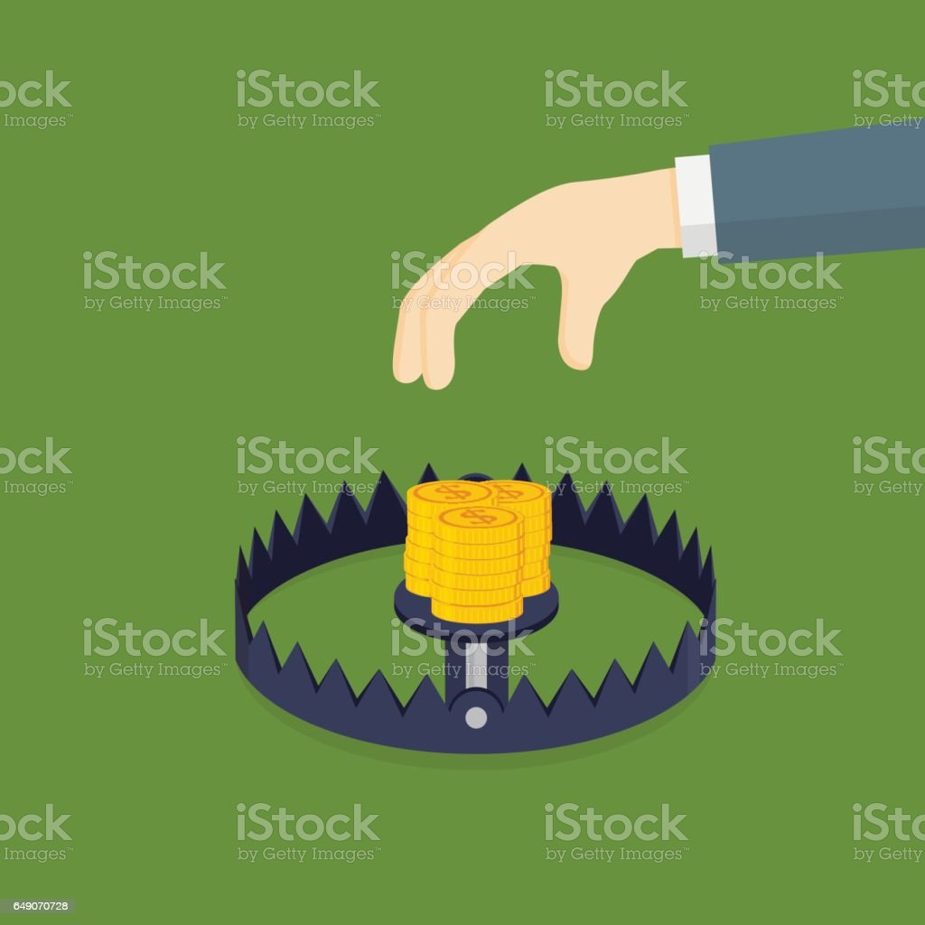Money Trap vector art illustration