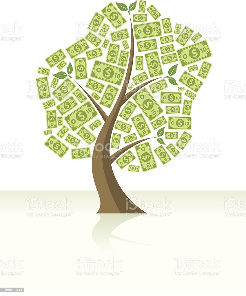 Money tree full of dollars royalty-free stock vector art
