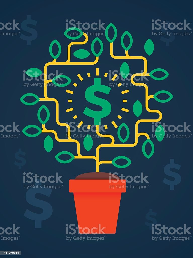 Money Tree Growing Business Concept vector art illustration