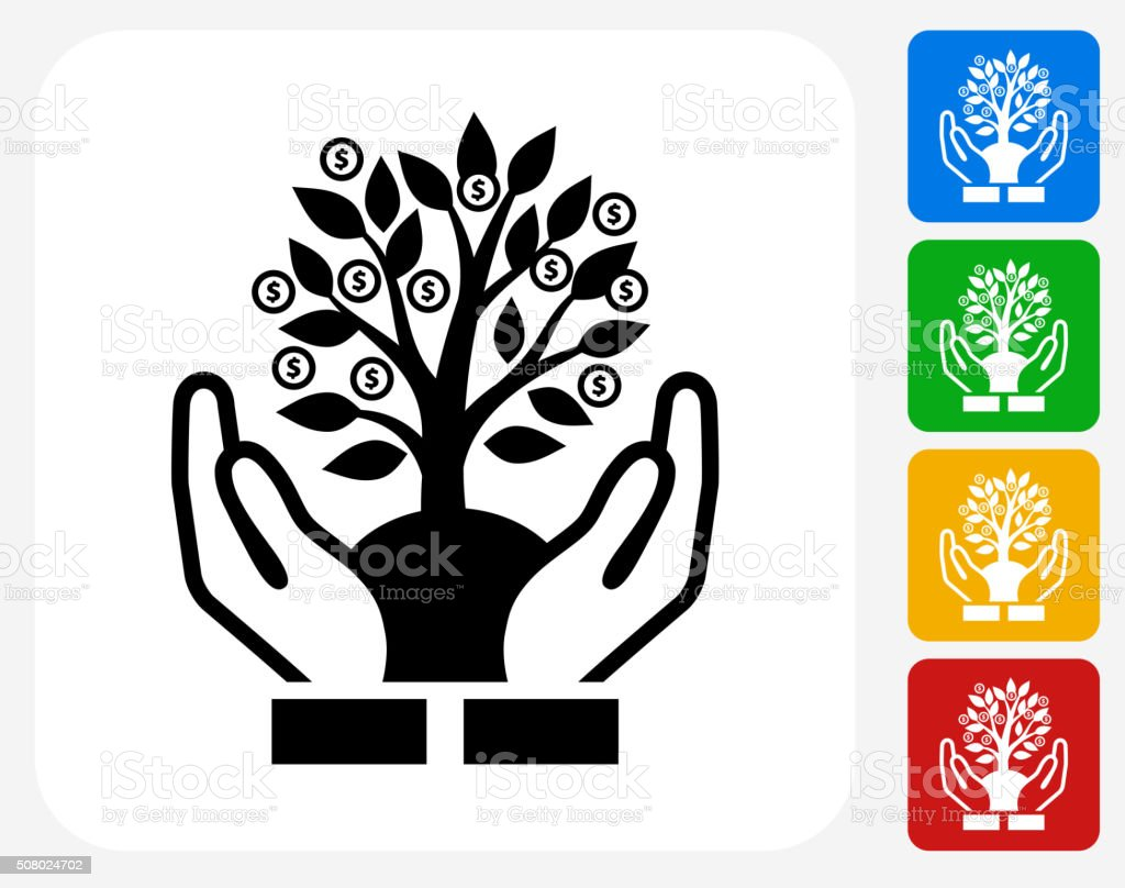Money Tree Icon Flat Graphic Design vector art illustration