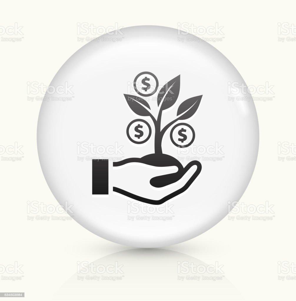 Money Tree icon on white round vector button vector art illustration