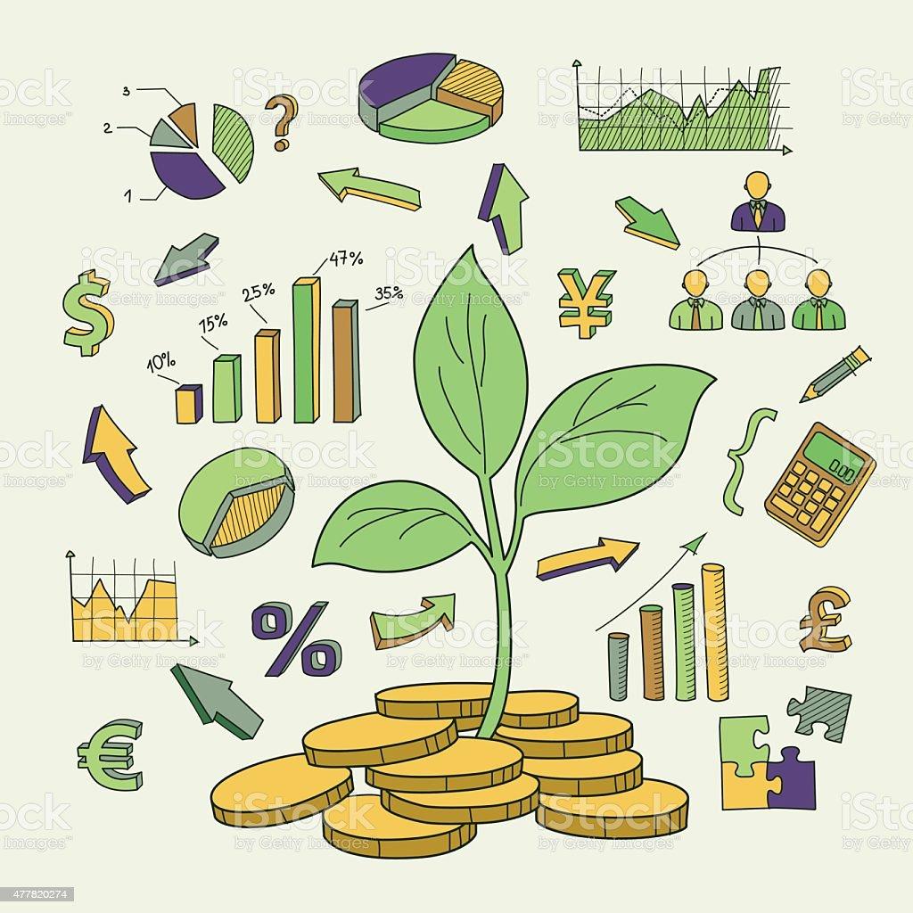 Árvore de dinheiro e símbolos financeiros broto de desenho em vetor vetor e ilustração royalty-free royalty-free