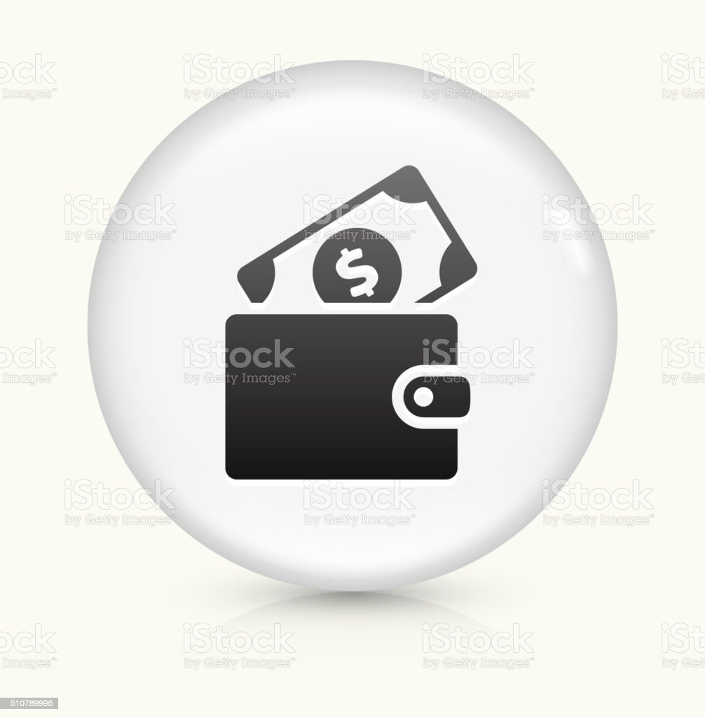 Money Wallet icon on white round vector button vector art illustration