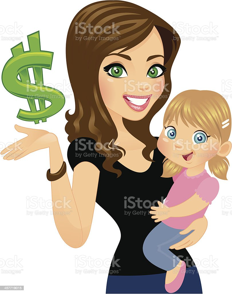Money Wise Woman with Daughter royalty-free stock vector art