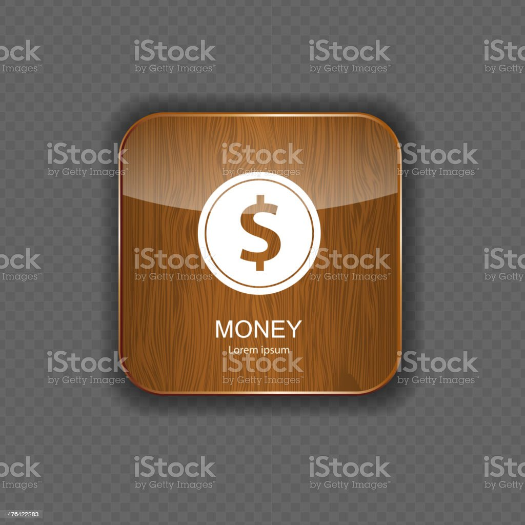 Money wood application icons royalty-free stock vector art