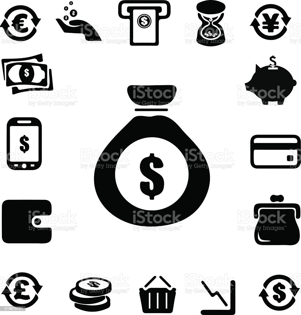 Moneyand Banking icon vector art illustration