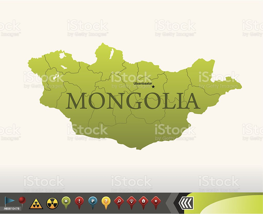 Mongolia map with navigation icons vector art illustration