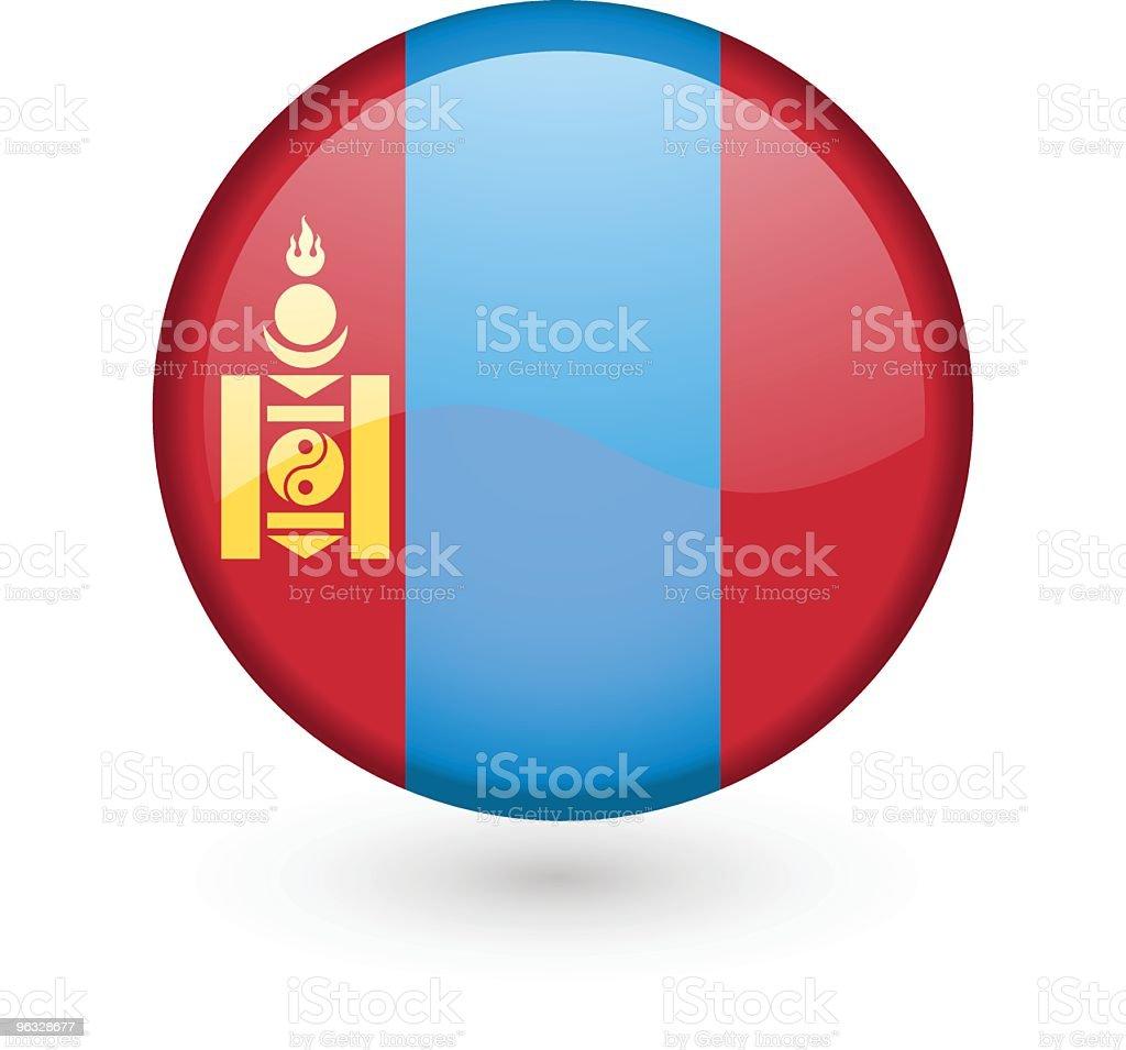 Mongolian flag vector button vector art illustration