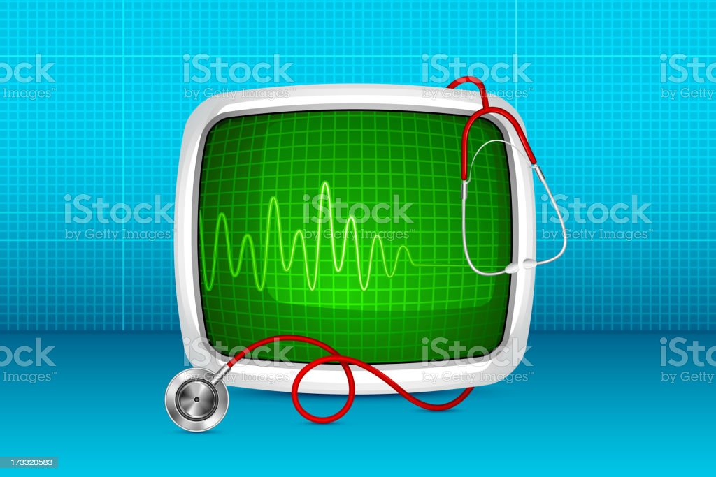 ECG monitor against medical background royalty-free stock vector art