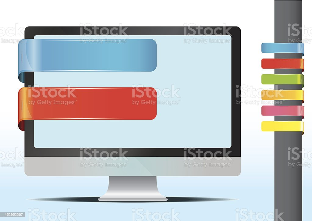Monitor and banner royalty-free stock vector art