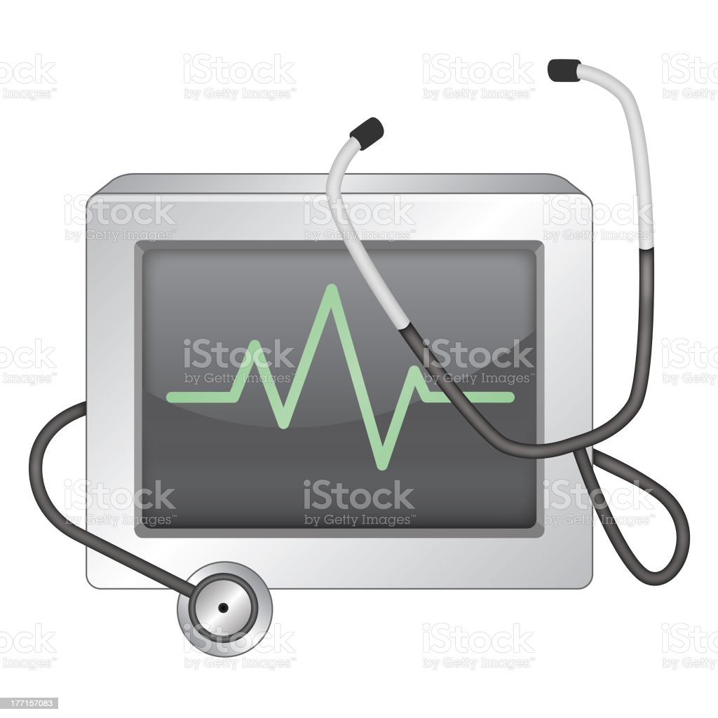EKG Monitor and Stethoscope royalty-free stock vector art