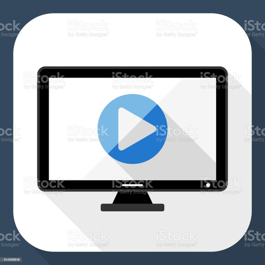 Monitor flat icon with long shadow vector art illustration
