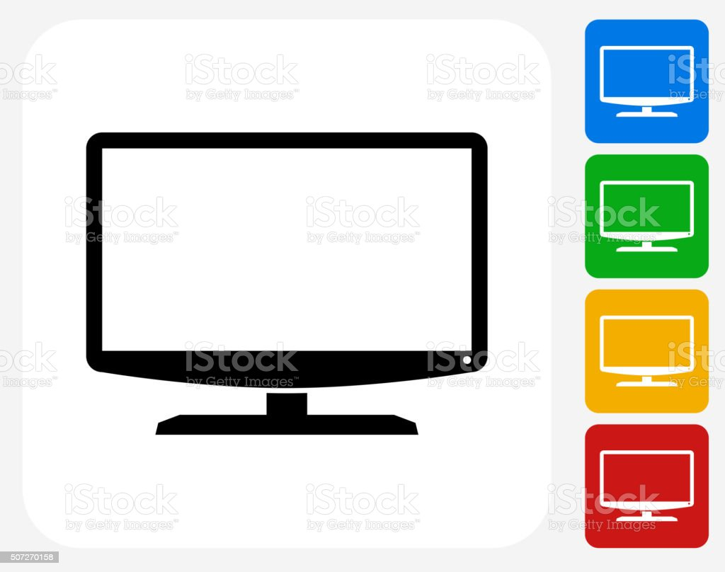 Monitor Icon Flat Graphic Design vector art illustration