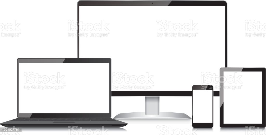 Monitor-Laptop-Mobile phone and Tablet vector art illustration