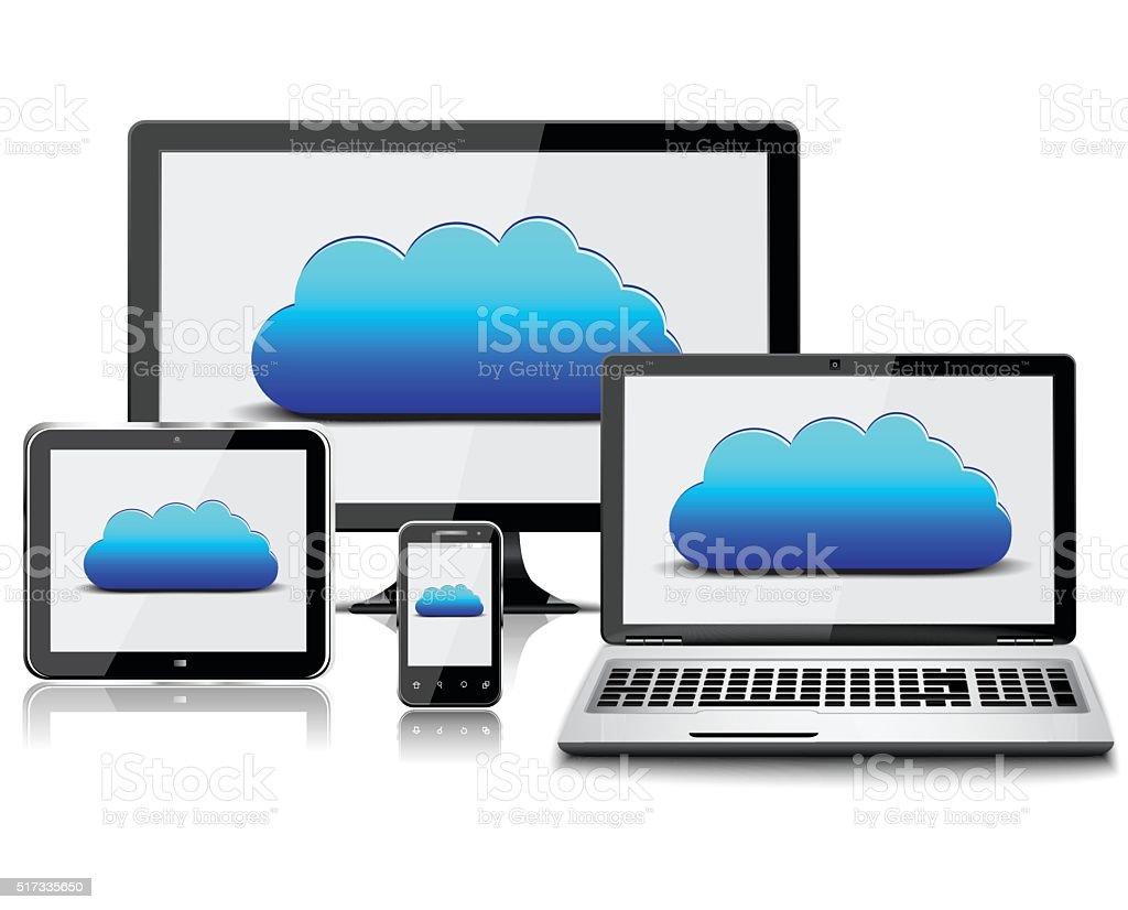 Monitor,laptop,tablet and smart phone with clouds inside vector art illustration