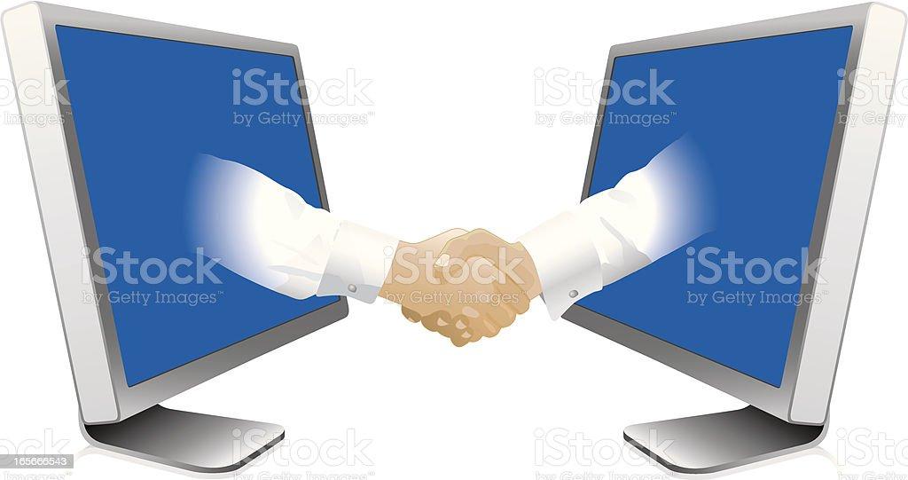Monitors and handshake royalty-free stock vector art
