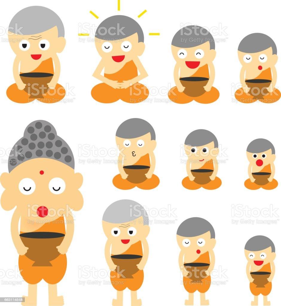 monk action cute cartoon vector art illustration