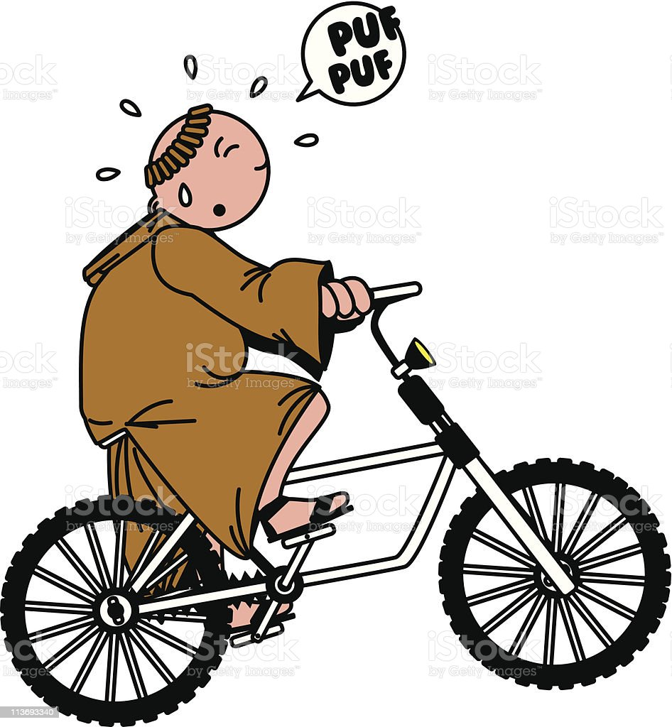 moine ? bicyclette vector art illustration