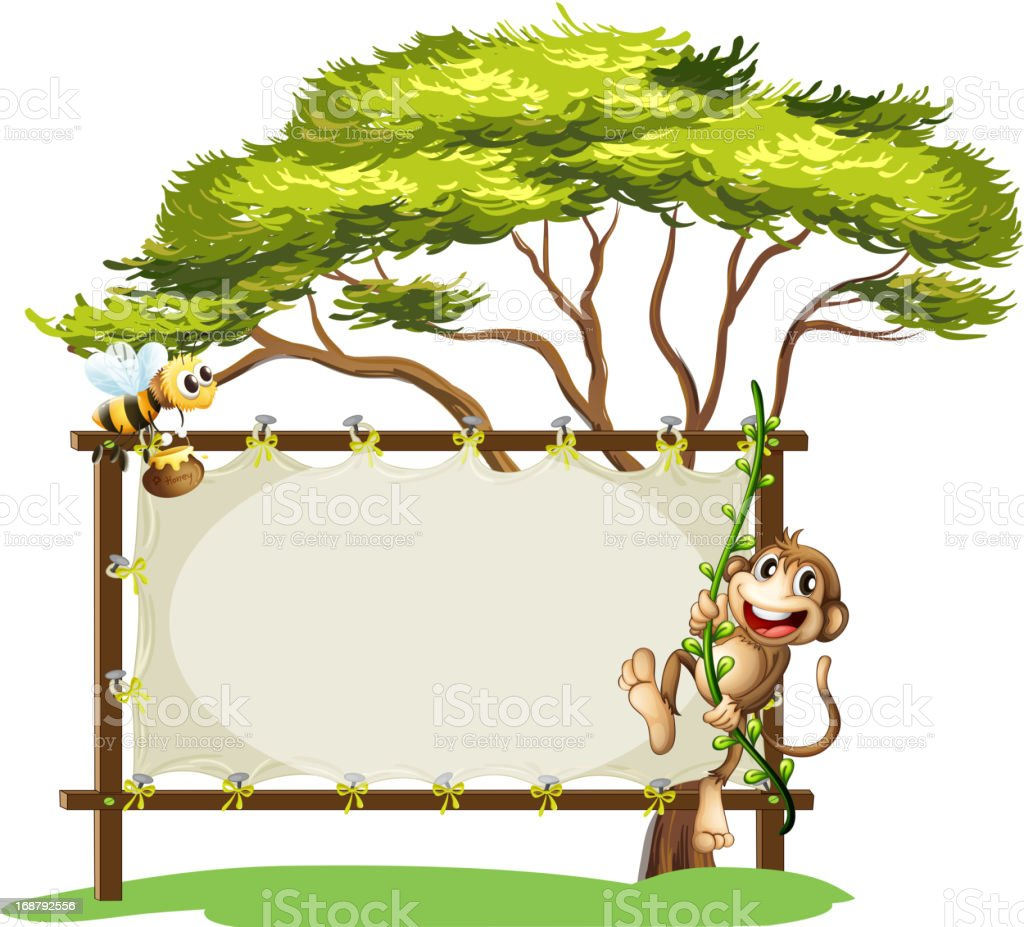 Monkey and bee beside the empty signage vector art illustration