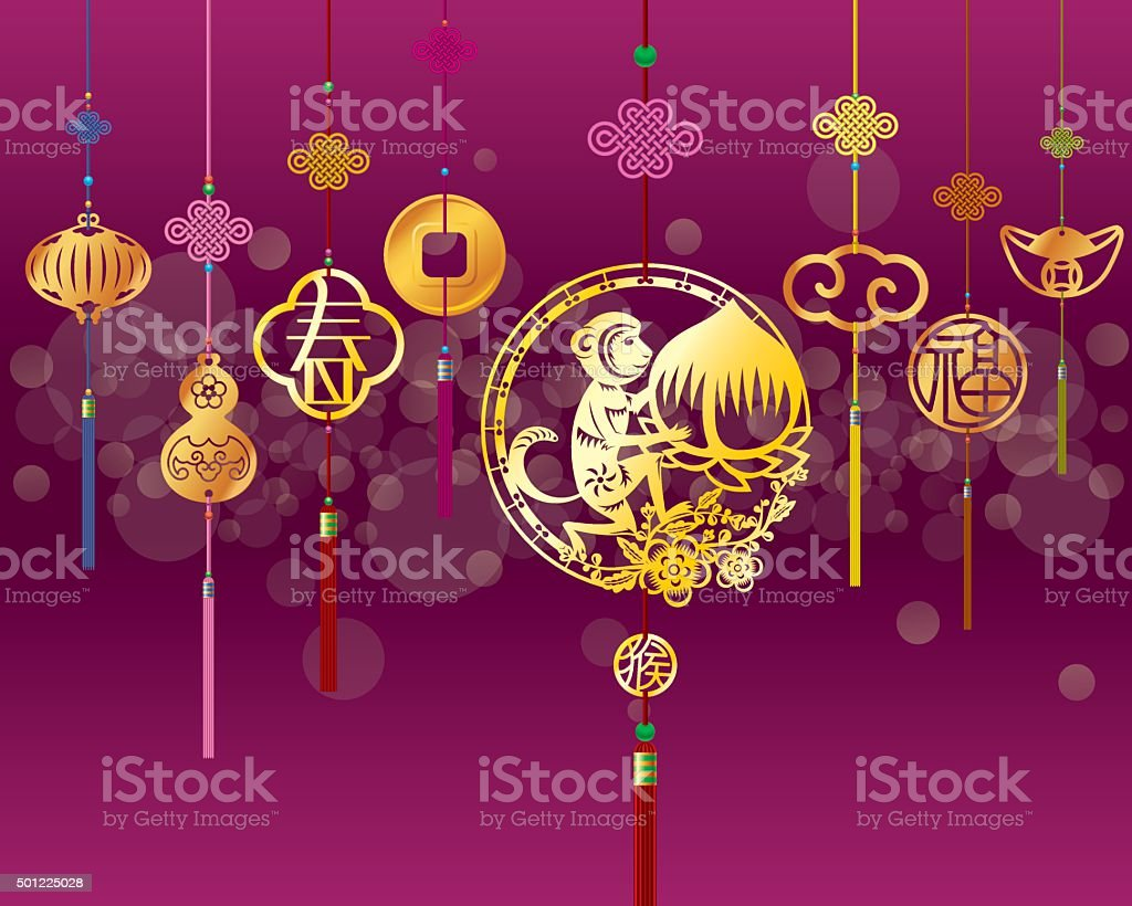 CNY monkey background with golden decoration vector art illustration