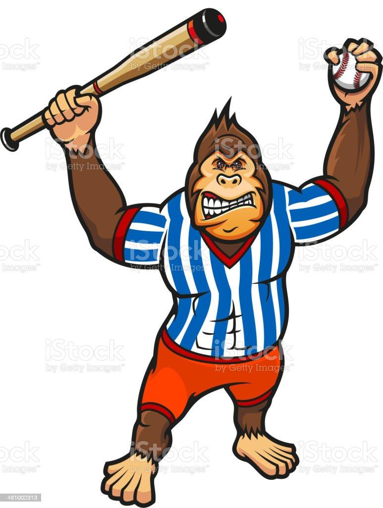 Monkey baseball player royalty-free stock vector art