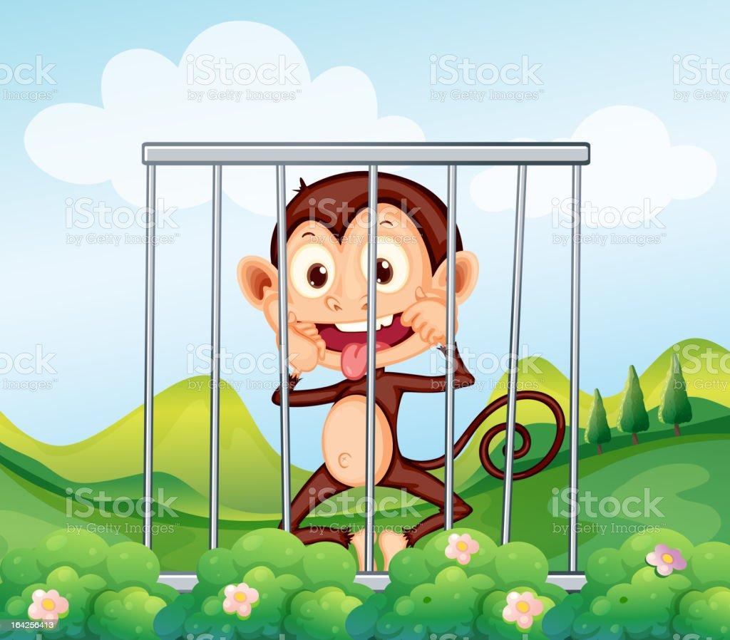 Monkey behind bars royalty-free stock vector art